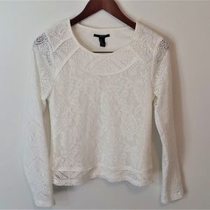 White Forever 21 Long Sleeve Lace Shirt
